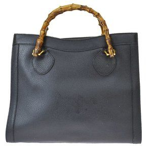 GUCCI Logo Bamboo Hand Bag Leather Black Gold Made